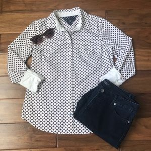 Tommy Hilfiger Button Down Patterned Top